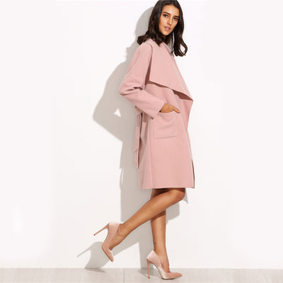 Spin Me Around Pink Waterfall Wrap Coat - Fashion Genie Boutique USA Alt