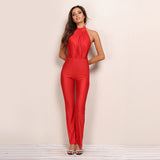 Milano Red Halterneck Jumpsuit - Fashion Genie Boutique USA Alt