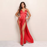 Flash Back Red Slinky Double Split Maxi Dress - Fashion Genie Boutique USA Alt