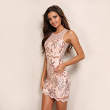 Champagne On Ice Rose Gold Sequin Mini Dress - Fashion Genie Boutique USA Alt