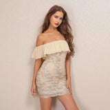 Best Life Nude & Gold Bardot Embroidered Mini Dress - Fashion Genie Boutique USA Alt