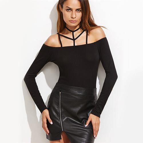 Sweet Talker Black Harness Bardot Top - Fashion Genie Boutique