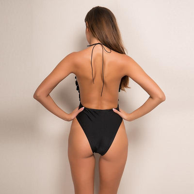 Sunchaser Black Sequin Halter Swimsuit - Fashion Genie Boutique