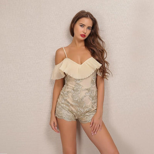 Cocktail Bling Nude & Gold Embroidered Romper - Fashion Genie Boutique USA Alt