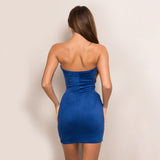 Twilight Blue Velvet  Strapless Mini Dress - Fashion Genie Boutique USA Alt