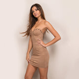 Twilight Tan Velvet  Strapless Mini Dress - Fashion Genie Boutique USA Alt