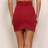 Keep It Quiet Red Lace Up Mini Skirt - Fashion Genie Boutique USA Alt