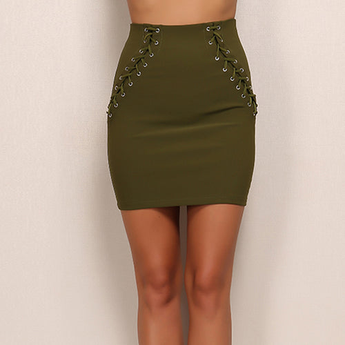Keep It Quiet Green Lace Up Mini Skirt - Fashion Genie Boutique USA Alt