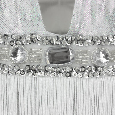 Glitter Doll White And Silver Crystal Embellished Fringed Bodysuit - Fashion Genie Boutique USA Alt