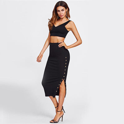 Adelita Baby Black Studded Split Midi Skirt - Fashion Genie Boutique