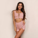Just Chillin' Pink Two Piece Lace Up Crop Top & Shorts Set - Fashion Genie Boutique USA Alt