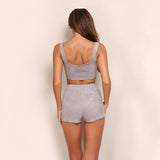 Just Chillin' Grey Lace Up Crop Top & Shorts Co-Ord - Fashion Genie Boutique USA Alt
