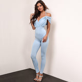 Jump Into Love Blue Bardot Jumpsuit - Fashion Genie Boutique USA Alt