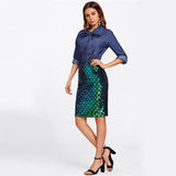 Saturday Night Diva Green Iridescent Sequin Midi Skirt - Fashion Genie Boutique