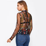 Dakota Black Floral Embroidered Mesh Top - Fashion Genie Boutique