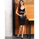 Confident Black Cage Top Cut Out Bandage Mini Dress - Fashion Genie Boutique