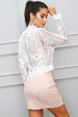 Lost Stars White Crochet Long Sleeve Top - Fashion Genie Boutique USA Alt