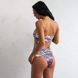 Summer Crush Purple Snake Print Monokini Swimsuit - Fashion Genie Boutique