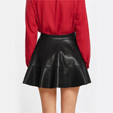 Frill Time Black Faux Leather Pearl Frill Mini Skirt - Fashion Genie Boutique
