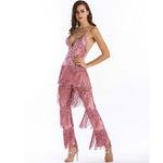 Puttin' on the Glitz Pink Sequin Tassel Fringe Jumpsuit - Fashion Genie Boutique USA Alt