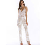 Puttin' on the Glitz White Sequin Tassel Fringe Jumpsuit - Fashion Genie Boutique USA Alt