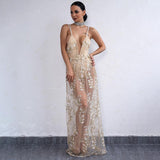 Sunset Cove Nude Embroidered Mesh Maxi Dress - Fashion Genie Boutique USA Alt