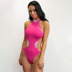 Promised Paradise Pink Rhinestone Monokini Swimsuit - Fashion Genie Boutique