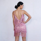 Candy Kisses Pink Sequin Fringe Mini Dress - Fashion Genie Boutique USA Alt