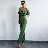 Brighton Green Bardot Ruffle Jumpsuit - Fashion Genie Boutique USA Alt
