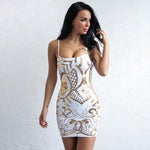 On My Mind White & Gold Sequin Mini Dress - Fashion Genie Boutique USA Alt