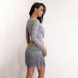 Sunset Fling Grey Lace Tassel Fringe Long Sleeve Mini Dress - Fashion Genie Boutique USA Alt