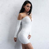 Pure Elegance White Bardot Ribbed Long Sleeve Mini Dress - Fashion Genie Boutique USA Alt
