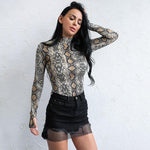 Medusa Multi Snake Print Long Sleeve Bodysuit - Fashion Genie Boutique USA Alt