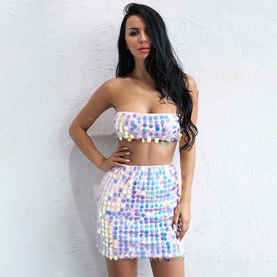 Runaway Lover Multi Iridescent Sequin Skirt & Top Two Piece - Fashion Genie Boutique