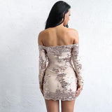 Style On Point Rose Gold Bardot Long Sleeve Sequin Dress - Fashion Genie Boutique