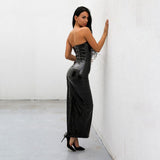 Chasing Love Black Strapless PU Leather Maxi Dress - Fashion Genie Boutique