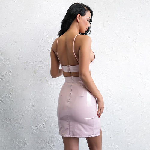 f660b33765 Serving Looks Nude Pink PU Leather Crop Top   Mini Skirt - Fashion Genie  Boutique
