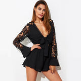 City Slick Black Long Sleeve Playsuit - Fashion Genie Boutique