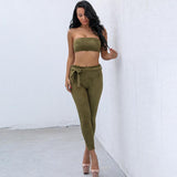 Byron Bay Green Strapless Crop Top & Trousers Two Piece - Fashion Genie Boutique