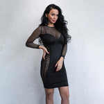 Magee Black Ling Sleeve Mesh Dress - Fashion Genie Boutique