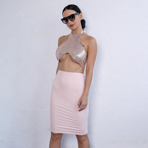 Party Queen Pink Rose Gold Sequin Crop Top & Skirt Co Ord - Fashion Genie Boutique