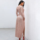 Cherished Moment Rose Gold Sequin Wrap Maxi Dress - Fashion Genie Boutique