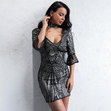 All The Right Moves Black Sequin Choker Mini Dress - Fashion Genie Boutique