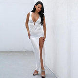 Zara White Slinky Maxi Dress - Fashion Genie Boutique USA Alt