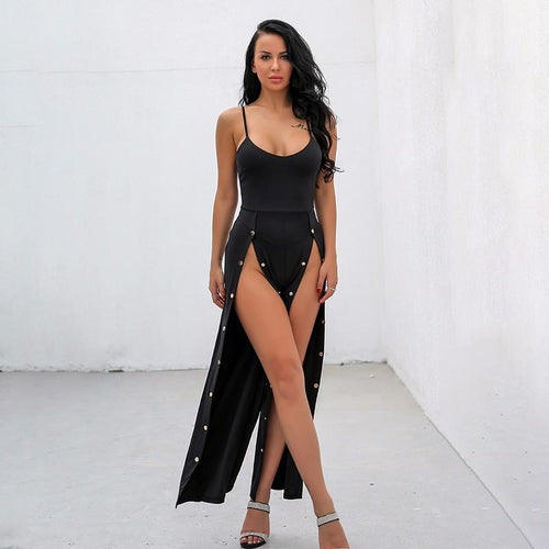 We're Splitting Black Double Split Jumpsuit - Fashion Genie Boutique USA Alt