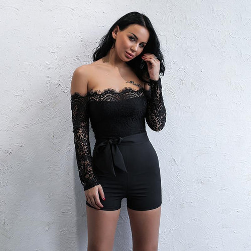 Meant To Be Black Bardot Lace Romper - Fashion Genie Boutique USA Alt