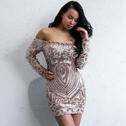 Can't Touch This Rose Gold Bardot Long Sleeve Mini Dress - Fashion Genie Boutique USA Alt