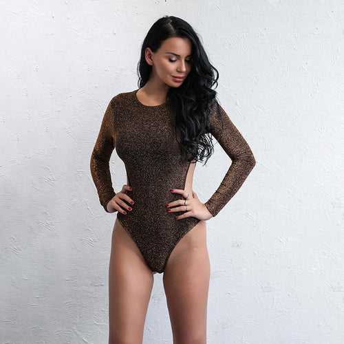 Be Delicious Brown Long Sleeve Bodysuit - Fashion Genie Boutique USA Alt
