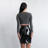 Cutting Ties Grey Stripe Long Sleeve Cropped Top - Fashion Genie Boutique USA Alt