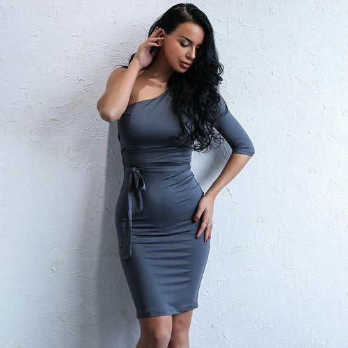 Valentine's Kiss Grey One Shoulder Mini Dress - Fashion Genie Boutique USA Alt